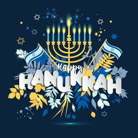 Jewish holiday Hanukkah greeting card and invitation traditional Chanukah symbols -menorah candles, star David illustration. Illusztráció