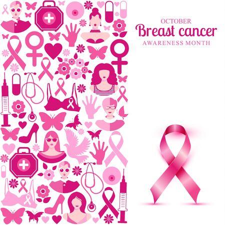 Banner Illustration of breast cancer for october awareness month. Foto de archivo - 130391408