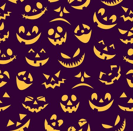 Seamless Halloween pattern. Designer of the symbol of an dark violet background with various eyes, nose and smile