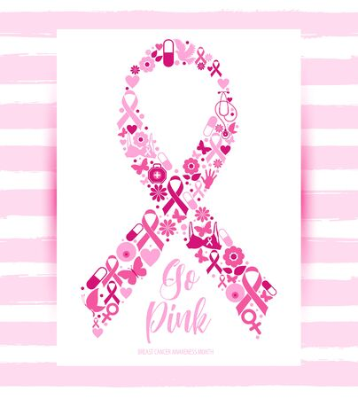 Banner Illustration of breast cancer for october awareness month. Icon in ribbon, double exposure.