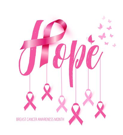 Breast Cancer Awareness Calligraphy Poster design with Pink Ribbon. October is Cancer Awareness Month Çizim