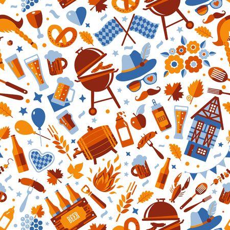 Oktoberfest flyer, banner. Beer festival pattern design