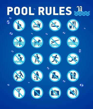Regole della piscina sul blu con elementi desihn-gocce d'acqua. Set di icone e simboli per la piscina.