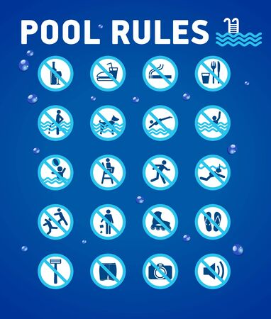 Swimming pool rules on blue with desihn elements-waterdrops. Set of icons and symbol for pool. Çizim