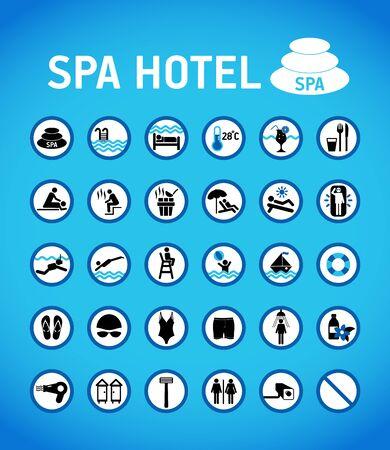 Regole e segni dell'hotel spa sul blu con design a cerchi.