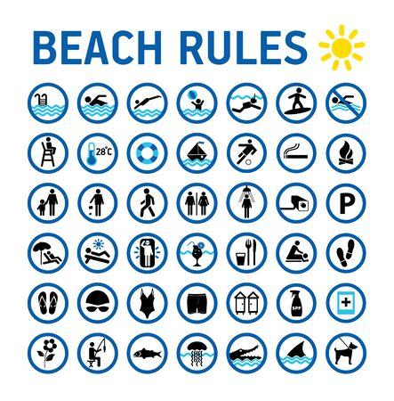 Strandregeln Icons Set und Zeichen auf Weiß mit Design in Kreisen. Vektorgrafik