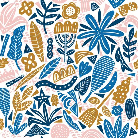 Collage style seamless repeat pattern with abstract and organic shapes.