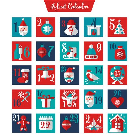Świąteczny kalendarz adwentowy lub plakat. Ilustracje wektorowe