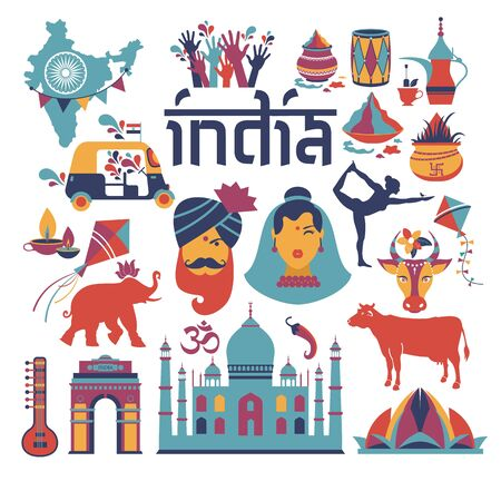 India set Asia country vector Indian architecture Asian traditions buddhism travel isolated icons and symbols. Foto de archivo - 139904288
