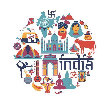 Indien set Asien-Land-Vektor Indische Architektur Asiatische Traditionen Buddhismus reisen isolierte Symbole und Symbole im Kreis.