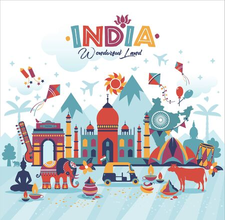 Travel illustration of India panorama vector background