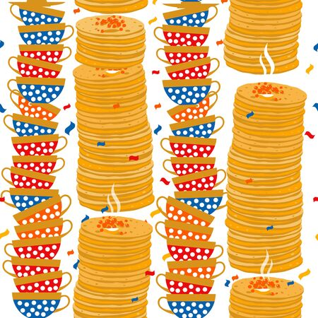 Seamless pattern of Shrovetide or Maslenitsa.