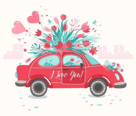 Red car delivering bouquet of tulips pink background. February 14 card, Valentine day. Flower delivery. 8 March, International Happy Women Day.