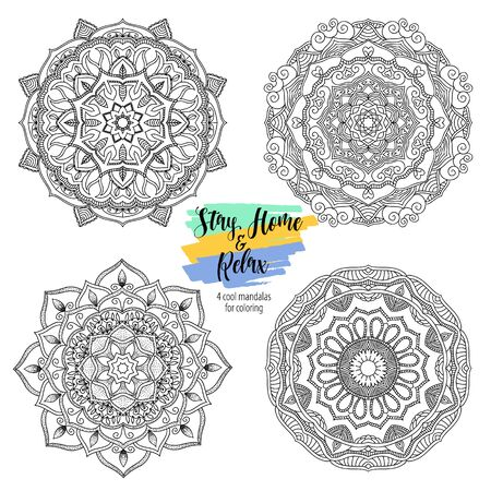 Stay Home and relax with mandala round floral ornament. Decorative design element. Black and white outline vector illustration for coloring book, print on T-shirt and other items. Vectores