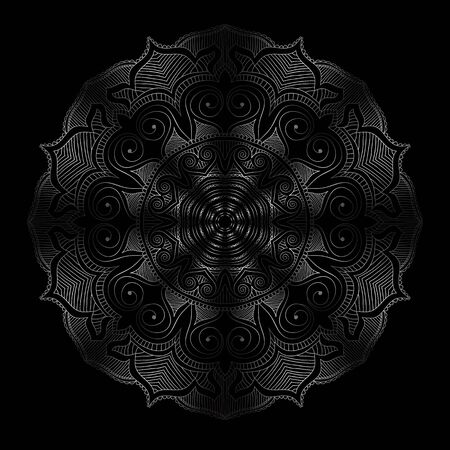 Stay Home and relax with mandala round floral ornament. Decorative design element. Black and white outline vector illustration.Print on T-shirt and other items. Vectores