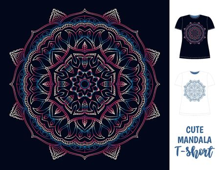 Dark women T-shirt with cute colorfull mandala. Mockup. Vector illustration on isolated background. Visualisation on t-short layout. Vectores