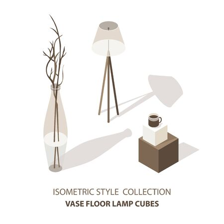 House interior isometric icons set with cube table vase and lamp isolated vector illustration