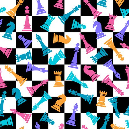 Seamless vector pattern with colored chess on checkered chess 向量圖像