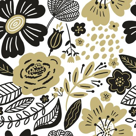 Vector floral seamless pattern gold and black colors.