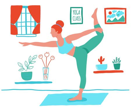 Women exercising yoga at home flat color trend vector.