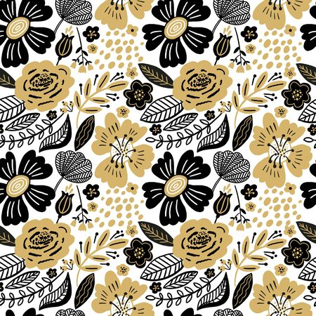 Vector floral seamless pattern gold and black colors. Stok Fotoğraf - 149746681