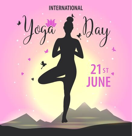 World Yoga Day vector illustration, on bright sunset