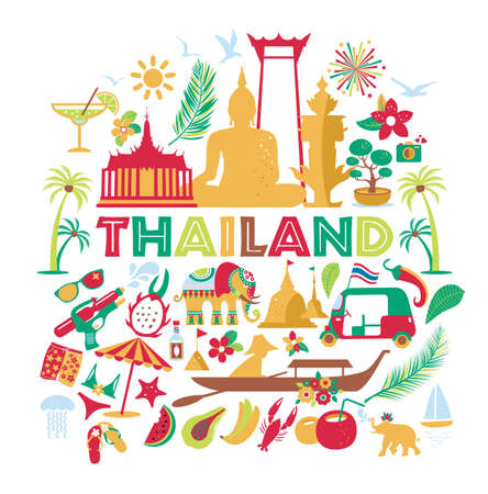 Asia Culture set of bruight icons - Bangkok Thailand Vector Illustration on white background. Tou