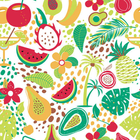 Hawaiian seamless pattern with tropical fruits and flowers. Vector illustration surface print on white background.