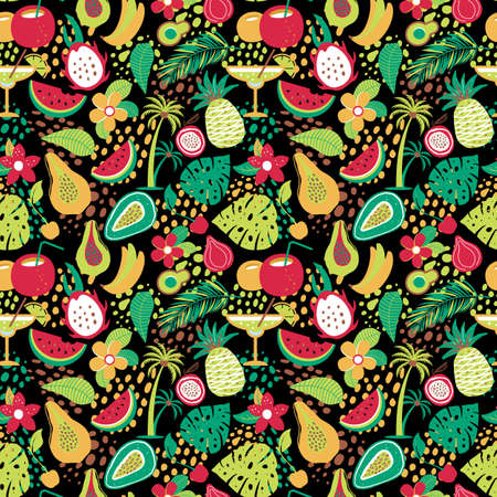 Hawaiian seamless pattern with tropical fruits and flowers. Vector illustration surface print on black background.