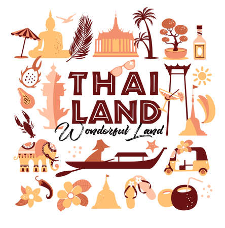 Collection of Thailand symbols. Vector poster. postcard in trend color. Travel illustration.