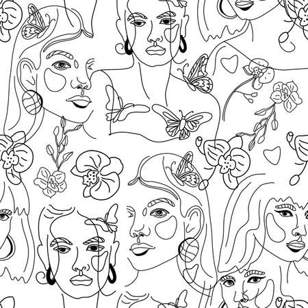 Seamless Pattern of Womans Face Minimal Line Style ol-line drawing. Abstract Contemporary collage in a modern trendy style. Vector female Portrait. Beauty Concept, t-Shirt Print, card, poster,fabric.