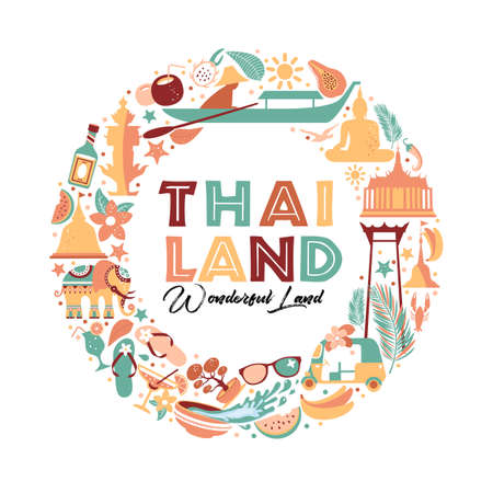 Collection of Thailand symbols in wreath. Vector poster. Postcard in trend color. Travel illustration. Web banner of travel in circle composition.
