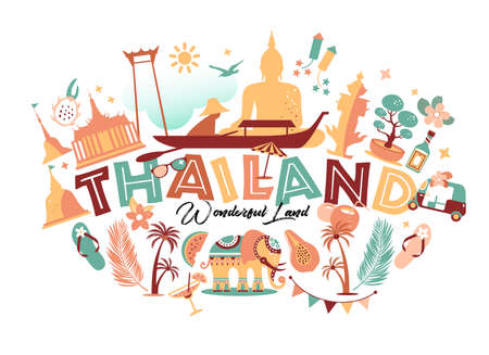 Collection of Thailand symbols with text. Vector poster. Postcard in trend color. Travel illustration. Web banner of travel with letters. Stok Fotoğraf - 151862836