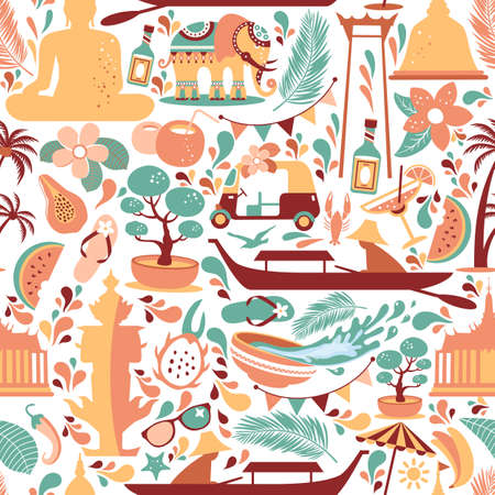 Asia Culture set of bruight icons in seamless pattern - Bangkok Thailand Vector Illustration on white background. 向量圖像