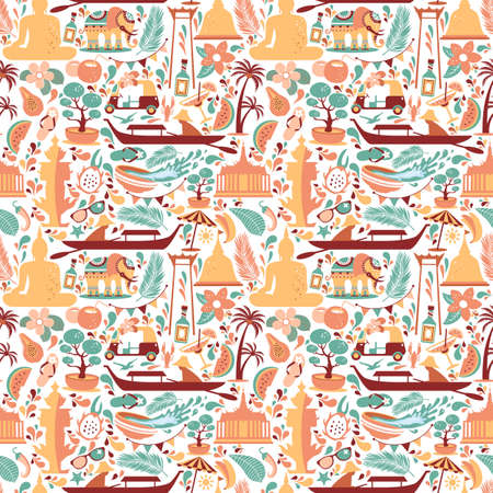 Asia Culture set of bruight icons in seamless pattern - Bangkok Thailand Vector Illustration on white background. Stok Fotoğraf - 151935911