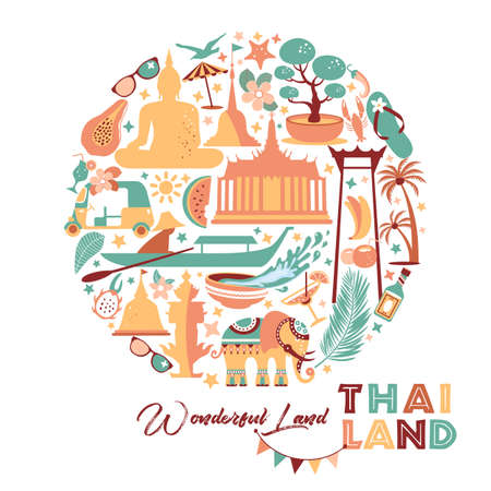 Collection of Thailand symbols in circle. Vector poster. Postcard in trend color. Travel illustration. Web banner of travel in circle composition.