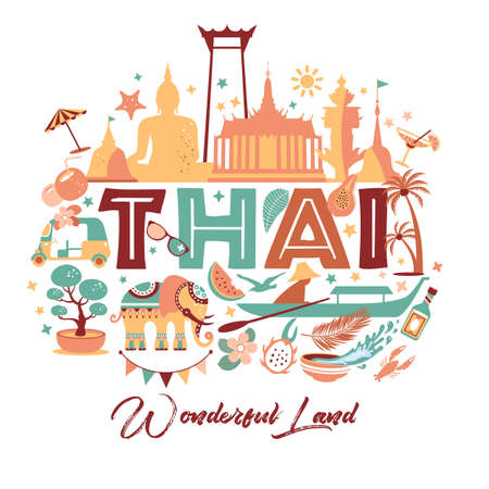 Collection of Thailand symbols with text. Vector poster. Postcard in trend color. Travel illustration. Web banner of travel with letters. 向量圖像