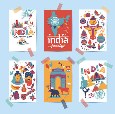India set Asia country vector Indian architecture Asian traditions buddhism travel isolated icons and symbols in 6 cards.