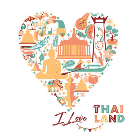 Collection of Thailand symbols in heart. Vector poster. Postcard in trend color. Travel illustration. Web banner of travel in circle composition. 向量圖像