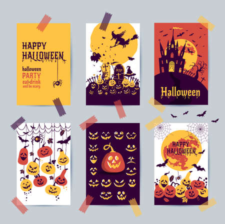 Happy halloween banner. Set of vector design postcards icons elements.