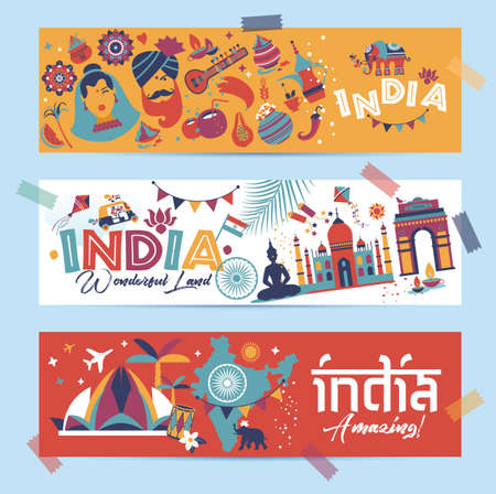 India set Asia country vector Indian architecture Asian traditions buddhism travel isolated icons and symbols in 3 banners.