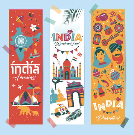 India set Asia country vector Indian architecture Asian traditions buddhism travel isolated icons and symbols in 3 vertical banners.