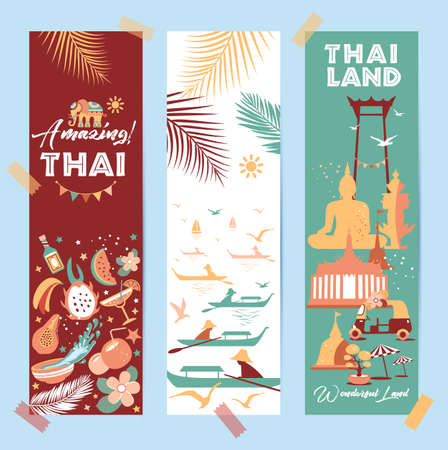 Collection of Thailand symbols in banners. Vector poster. Postcard in trend color. Travel illustration. Web banner of travel in differente composition.