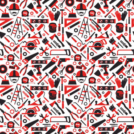Construction and repair tools seamless pattern wallpaper. Carpentry flat surface icons background.