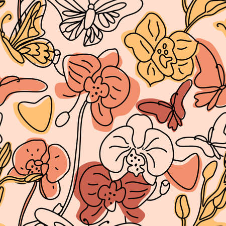 Orchids and butterflies seamless background pattern with hand drawn line abstract shapes different. Vector trend color illustration. Contour drawing.