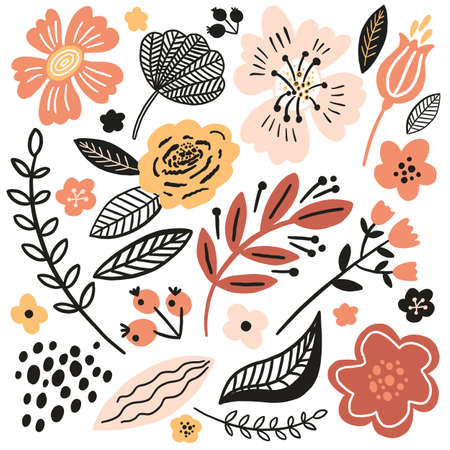 Vector floral pattern illustration in autumn trend colors. Flat flowers, petals, leaves with and doodle elements. Collage style botanical background for textile and surface. Cutout paper design. 向量圖像