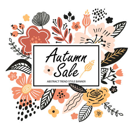 Vector floral banner sale autumn illustration in trend colors. Flat flowers, petals, leaves with and doodle elements. Collage style botanical background for sale. 向量圖像