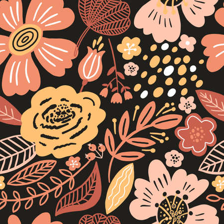 Vector floral seamless pattern black colors autumn. Flat flowers, petals, leaves with and doodle elements. Collage style botanical background for textile and surface. Cutout paper design.