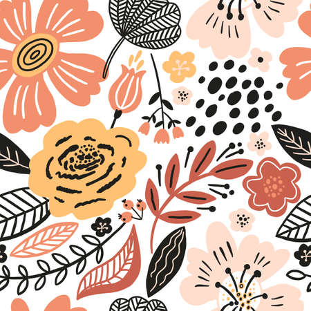 Vector floral seamless pattern white colors autumn. Flat flowers, petals, leaves with and doodle elements. Collage style botanical background for textile and surface. Cutout paper design. Stok Fotoğraf - 154860681