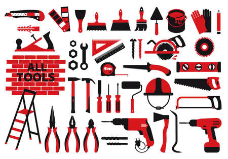 Vector icons set, building, construction, tools, repair and decoration works. Flat design icons set. 向量圖像